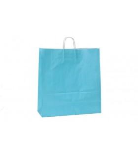 Bolsas de papel con asa retorcida de 45x17x48 cm. Azules. Caja de 150 uds.