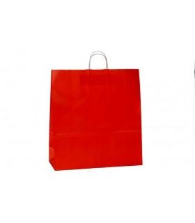 Bolsas de papel con asa retorcida de 45x17x48 cm. Rojas. Caja de 150 uds.