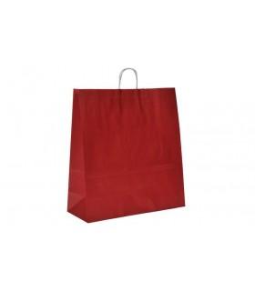 Bolsas de papel con asa retorcida de 45x17x48 cm. Burdeos. Caja de 150 uds.