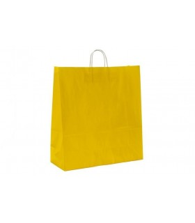 Bolsas de papel con asa retorcida de 45x17x48 cm. Amarillas. Caja de 150 uds.