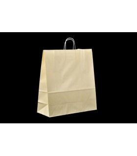 Bolsas de papel con asa retorcida de 45x17x48 cm. Crema. Caja de 150 uds.