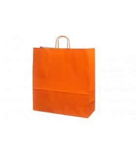 Bolsas de papel con asa retorcida de 45x17x48 cm. Naranjas. Caja de 150 uds.