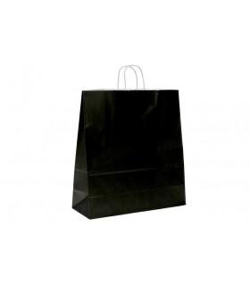 Bolsas de papel con asa retorcida de 45x17x48 cm. Negras. Caja de 150 uds.