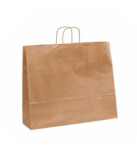 Bolsas de papel con asa retorcida de 54x14x45 cm. Kraft verjurado. Caja de 200 uds.