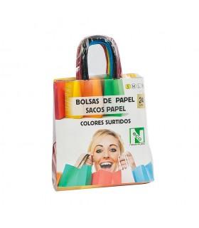 Bolsas de papel con asa rizada de 18x8x22 cm. Colores variados. Caja de 9 paquetes de 24 bolsas cada uno.