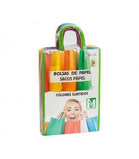 Bolsas de papel con asa rizada de 22x10x31 cm. Colores variados. Caja de 9 paquetes de 24 bolsas cada uno.