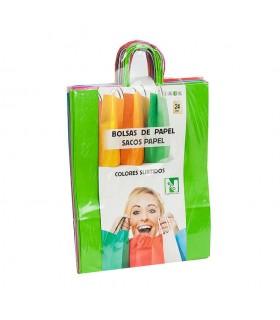 Bolsas de papel con asa rizada de 32x12x41 cm. Colores variados. Caja de 9 paquetes de 24 bolsas cada uno.