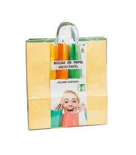 Bolsas de papel con asa rizada de 45x17x48 cm. Colores variados. Caja de 7 paquetes de 24 bolsas cada uno.