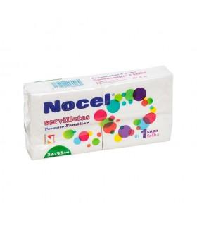 """Servilletas """"Nocel"""" de una capa de  33x33 cm. Paquete familiar. Caja de 33 paquetes de 90 uds."""