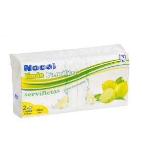 "Servilletas ""Nocel"" Limon de dos capa de 33x33 cm. Paquete familiar. Caja de 25 paquetes de 120 uds."