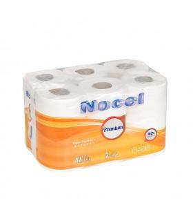 """Papel Higiénico """"Nocel Amarillo"""" de 2 capas. Fardo de 8 paquetes de 12 rollos."""