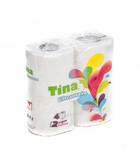 """Papel Higiénico """"Low Cost Tina"""" de 2 capas. Fardo de 27 paquetes de 4 rollos."""