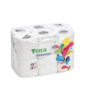 """Papel Higiénico """"Low Cost Tina"""" de 2 capas. Fardo de 9 paquetes de 12 rollos."""