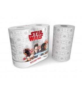 """Rollo de papel de cocina """"Star Wars"""" de 3 capas. Fardo de 12 paquetes de 2 rollos."""