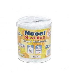 """Rollo de papel multiusos """"Nocel Maxi Roll"""" imprso en azul. Fardo de 6 rollos."""