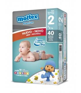 "Pañales ""Moltex Premium"" Talla 2: 3-6 kg. Caja de 3 paquetes de 40 pañales."