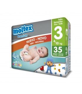 "Pañales ""Moltex Premium"" Talla 3: 4-10 kg. Caja de 6 paquetes de 35 pañales."