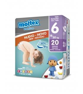 "Pañales ""Moltex Premium"" Talla 6: 18-30 kg. Caja de 6 paquetes de 20 pañales."