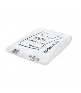 Bolsas blancas de plástico Asa Camiseta 35x50 cm. Paquete de 200 uds.