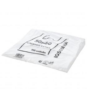 Bolsas blancas de plástico Asa Camiseta 50x60 cm. Paquete de 200 uds.