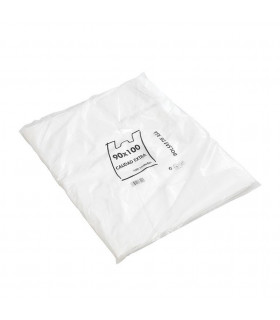 Bolsas blancas de plástico Asa Camiseta 90x100 cm. Paquete de 100 uds.