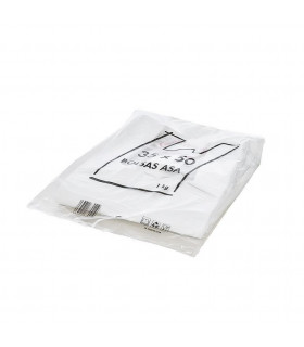 1 kilo de Bolsas blancas de plástico Asa Camiseta 35x50 cm. Con mensaje de agradecimiento