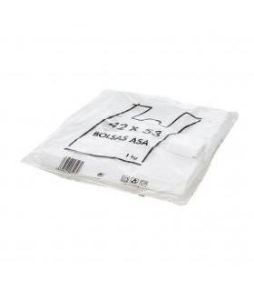 1 kilo de Bolsas blancas de plástico Asa Camiseta 42x53 cm.