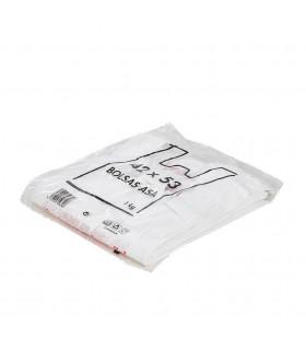 1 kilo de Bolsas blancas de plástico Asa Camiseta 42x53 cm. Con mensaje de agradecimiento