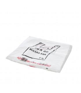 2 kilos de Bolsas blancas de plástico Asa Camiseta 50x60 cm. Con mensaje de agradecimiento