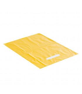 Bolsas de plástico amarilla de asa troquelada 25x35 cm. Paquete de 250 uds.