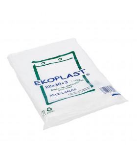Bolsas blancas de plástico Mercado 22x30+3 cm. Paquete de 1.000 uds