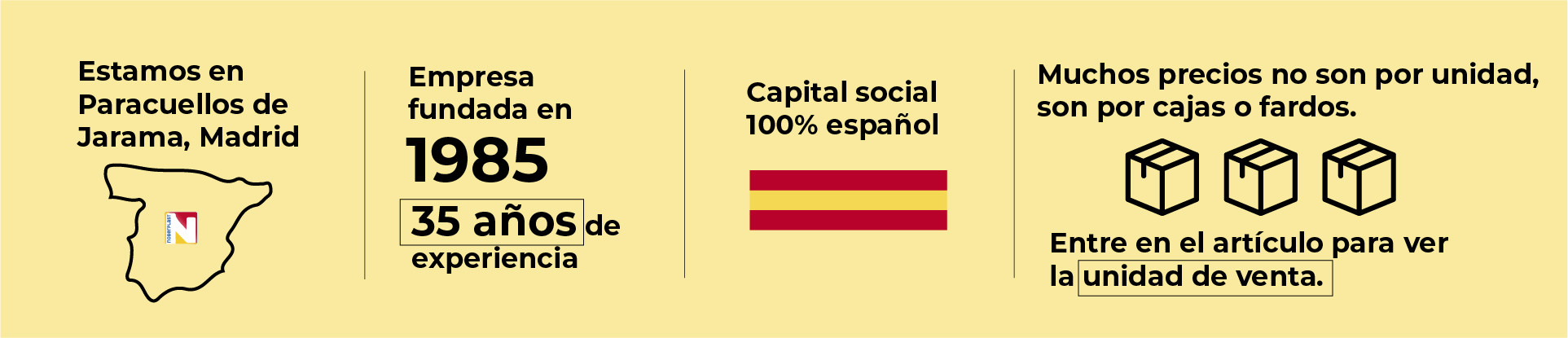 Productos de calidad, empresa española con 35 años de experiencia.